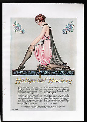 "Holeproof Hosiery, artist Coles Phillips, Color Magazine Ad 1923 6"" x 9"""