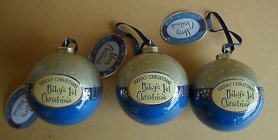BABY'S 1st CHRISTMAS BAUBLES x 3 BLUE SNOWY NIGHT BAUBLE EXCELLENT ITEM NEW