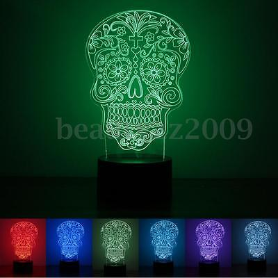 Skull 3D LED Desk Table Night Light Lamp USB Touch Control 7-Color Changing 2016