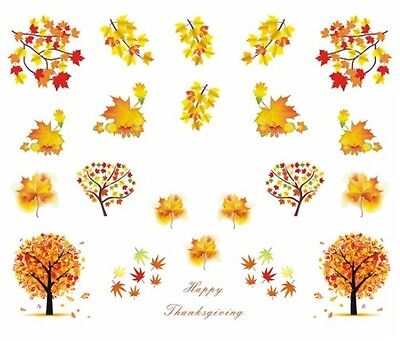 Nail Art Sticker Water Decals Transfer Autumn Leaves (DB364)