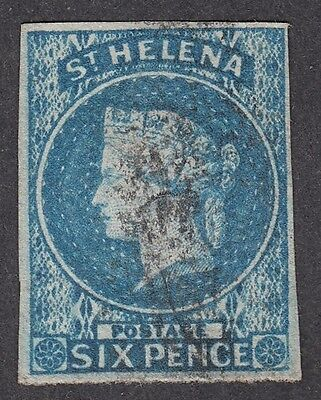 St Helena QV 1856 SG1 6d Blue, imperf; very fine used 4 mgns; rare cat £180