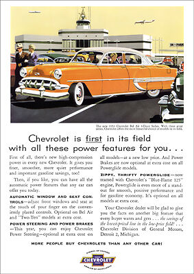 Chevrolet 54 Bel Air Retro A3 Poster Print From Classic Advert 1954