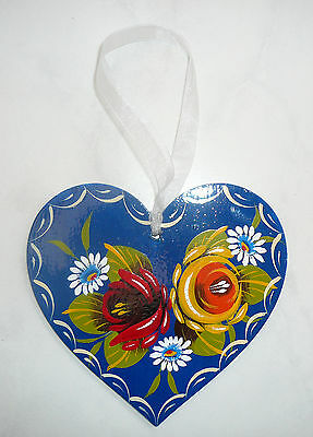 Canalware Canal barge ware Narrowboat - wooden hanging heart decoration blue