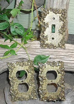 Vintage Ornate Floral Single Light Switch Cover & Two Outlet Covers Flowers