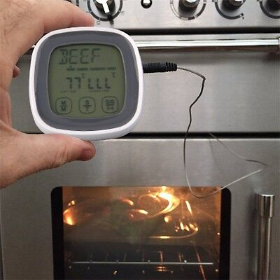 Potable Touchscreen Digital Meat Food Cooking Thermometer Timer With Probe JL