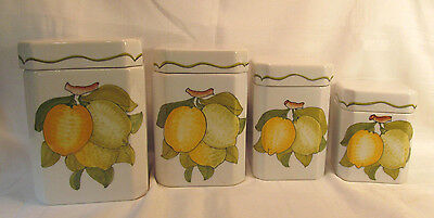 Cossa Italy 4 Vintage Pottery Canisters with Lids Hand Painted with Lemons