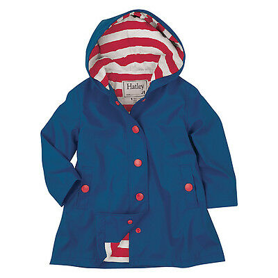 Half Price Hatley Girls Navy/red Stripes Rain Jacket New Sizes 4-12Y Rrp £39.95