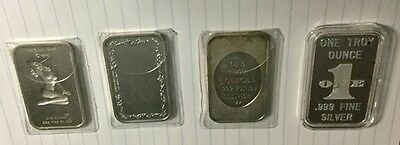 Lot of 4 Marilyn Monroe One Ounce Silver Bars -Colonial Mint, Tentex, Worldwide,