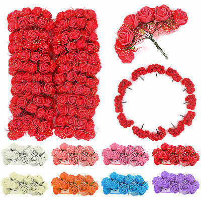 144 Pcs Foam Rose Heads Artificial Flowers Wedding Bride Bouquet Party Decor DIY