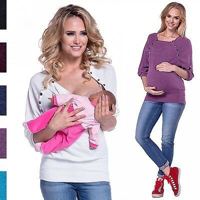 Happy Mama. Women's Nursing Jumper Thin Knitwear Batwing Top Maternity. 270p