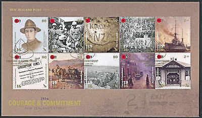 NEW ZEALAND 2016 WWI 1916 COURAGE COMMITMENT MS on FDC
