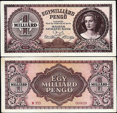 Hungary 1 Milliard (Billion) Pengo Milpengo 1946 Vf+ P.125 (1,000,000,000)
