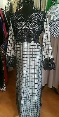 Half  Netted / fully embroidered Nida Abaya size 56