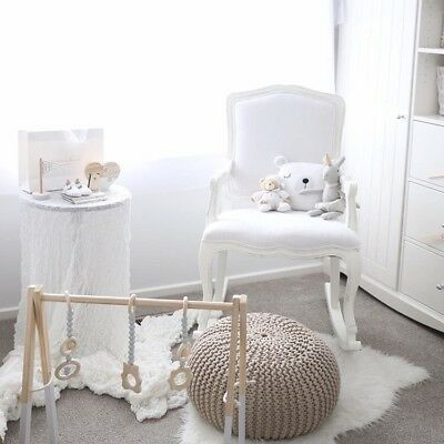 Baby Nursing Wooden Rocking Chair -White & Grey Arm Chair Rocker-Feeding Nursery
