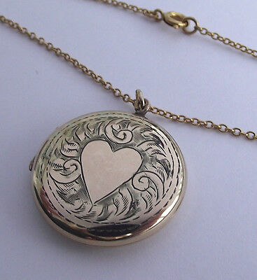 Vintage Rolled Gold Love Heart Locket And 20 Inch Chain
