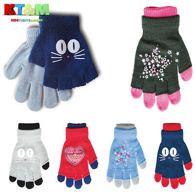 2 in 1 New Girl Kids Children Winter Full Finger & Fingerless Gloves Set