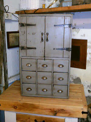 vintage cupboard campaign chest apothecary drawers no.1348 /courier option