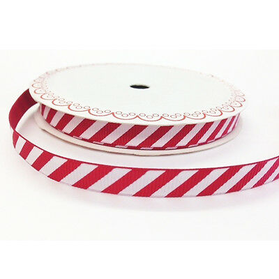 Full 25m Roll Red & White Stripe Candy Cane Grosgrain Ribbon 9mm Christmas Wrap
