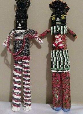 "Two 13"" South African Beaded Dolls with Child"