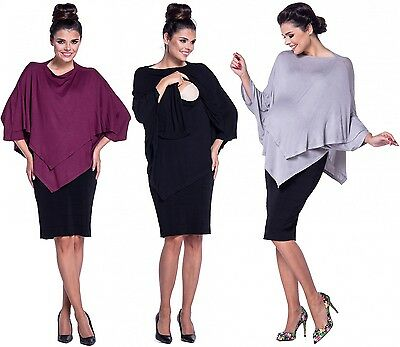 Zeta Ville - Women's Maternity Nursing Poncho Crew Neck Layered Design - 441c