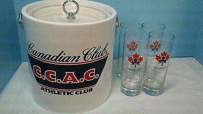 Set Of 5 Canadian Club Ice Bucket And 4 Glass Tall Glasses