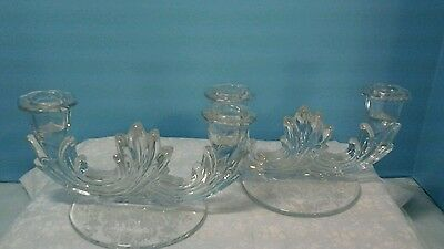 Pair Of  Fostoria Navarre Double Candle Holders Etched Flowers On Bottom