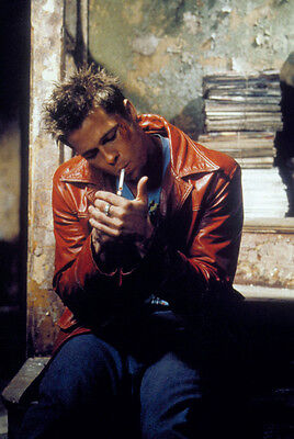 Fight Club Brad Pitt Smoking Cigarette In Red Leather Jacket Cool 24X36 Poster