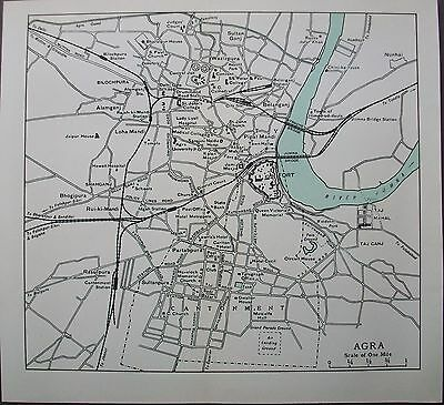 1959 India Agra Town City Plan Murrays Map Streets Stations Taj Mahal