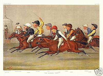 Vanity Fair caricature jockeys Winning Post horse race art poster print SKU3481