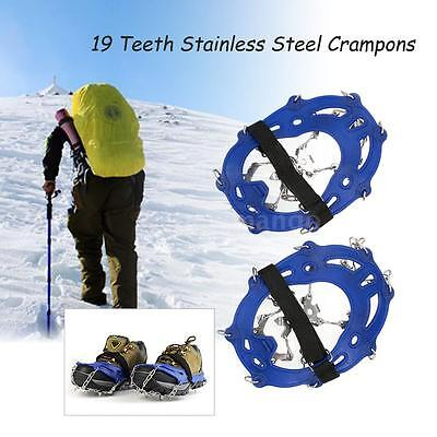 Stainless Steel Crampons Nylon Strap Cover Outdoor Ski Snow Hiking 19 Teeth Q0M2