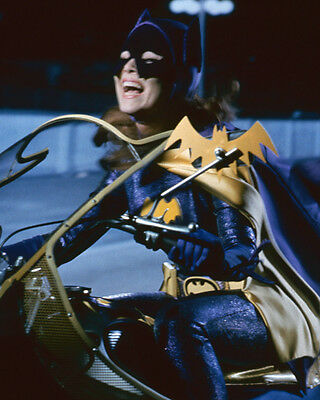 Yvonne Craig laughing riding motorcycle as Batgirl 8x10 Photo