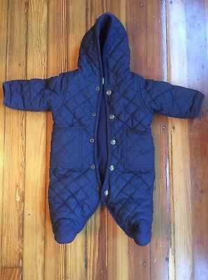 Ralph Lauren Navy Hooded Baby Barn Bunting Quilted Suit, Size 3 Months