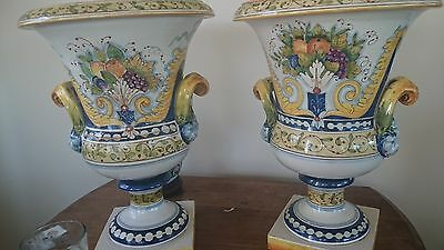 Pair Hand painted Pottery Majolica large Italian Planter Garden Urns 18 in Tall