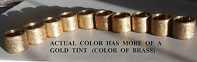 10 Vintage Brass Napkin Rings, Grapes, Vines, Leaves Pattern Great Patina & Cond