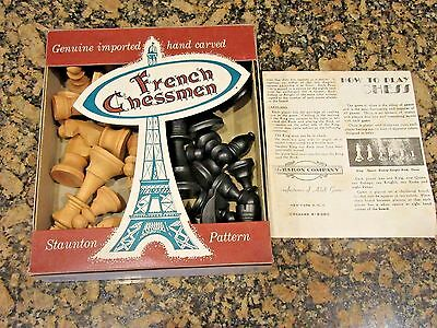 Vintage Crusader Carved Wood Imported French Chess Set Box Stauton Design