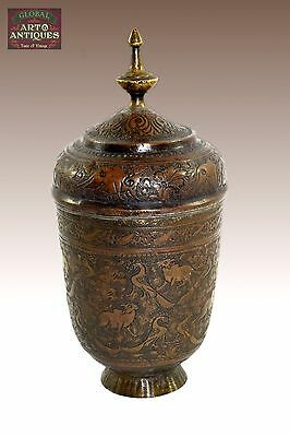 Real Mughal Rare Old Unique Shape Hand Crafted Animal Figures Brass Pot. G3-52
