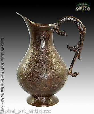 Great Rare Mughal Antique Beautiful Figures Designs Brass Wine Pot/Vessel. G3-51
