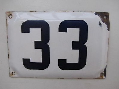 vintage ISRAELI  enamel porcelain number 33  house  sign # 33 CHRISTMAS SALE !