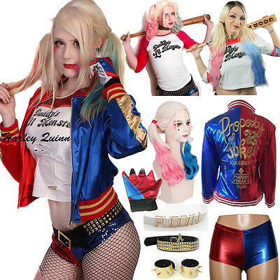 DC Movie Suicide Squad Harley Quinn T Shirt Belt Glove Jacket Cosplay Costume