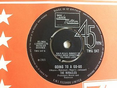 """THE MIRACLES """"GOING TO A GO-GO"""" on UK TAMLA MOTOWN TMG 547 (VG condition only)"""
