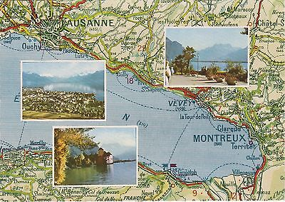 Switzerland - Carte du Lac Leman - Vintage Postcard