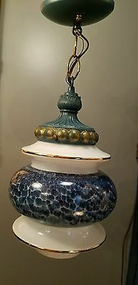 Vintage Blue Glass Hanging Globe Light (Swag-type) with blue fixture