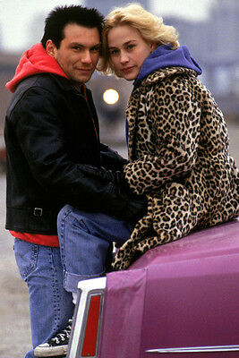 True Romance Patricia Arquette Christian Slater posing by Cadillac 24x36 Poster