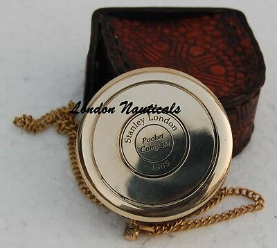 Vintage Robert Frost Brass and Copper Poem Compass with Leather Case