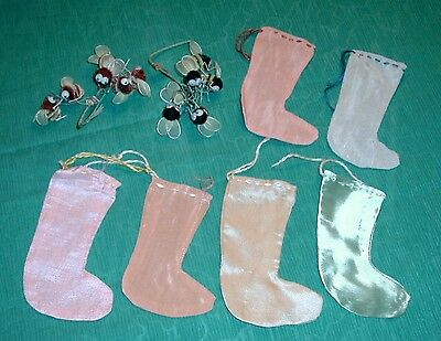 12 Vintage Wiggle Eye Chinille Bees Japan -Hand Crafted Mini Ornament Stockings