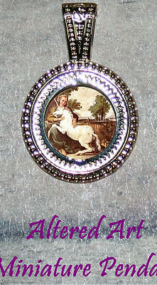 Medieval MAIDEN & UNICORN altered Art Large Ornament Frame Pendant 4 Necklace