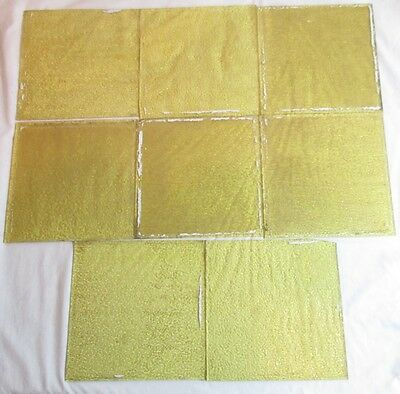"8 -Vintage Antique Yellow Textured Glass Window Panes 7-1/2"" x 7-1/2"" RARE"