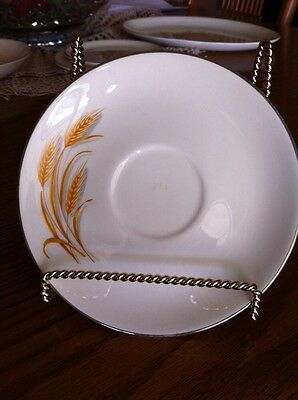 VINTAGE GOLDEN WHEAT CHINA  SAUCER  22K GOLD TRIM HOMER LAUGHLIN,off white