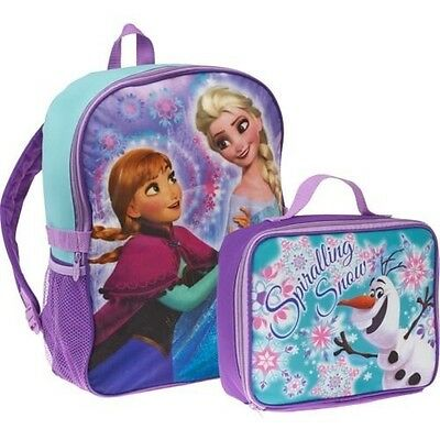 Disney Frozen Anna & Elsa Girl's Backpack with Olaf Lunch Box & Pencil Pouch NEW