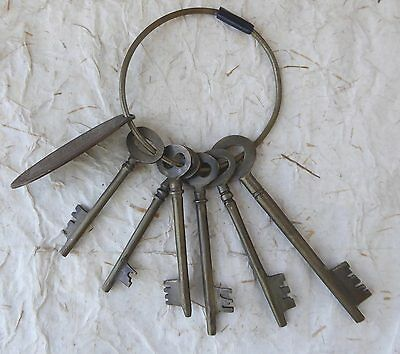 Set of 6 Antique BRASS Skeleton Keys with tag from WALDORF HOTEL HAMBURG